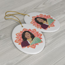 Load image into Gallery viewer, Vice President Kamala Aunty Ornament - Kamala Ornament - Kamala Harris- Kamala Sari South Asian - Ceramic Double Sided Christmas Ornament