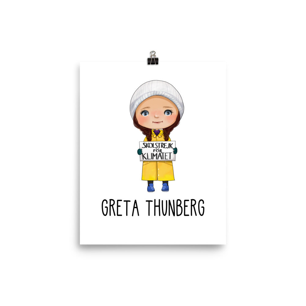 Greta Thunberg Empowered and Inspirational Women Wall Art Poster for Educational School Classroom or Nursery Theme 8x10 Poster - Climate