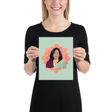 Load image into Gallery viewer, Vice President Kamala Aunty Poster - Kamala Mug - Kamala Harris- Kamala Sari South Asian - Aunty VP Kamala - Kamala Gift Lotus Flower Poster