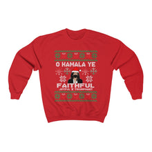 Load image into Gallery viewer, Kamala Harris Ugly Christmas Sweater - O Kamala Ye Faithful Joyful - Kamala Great Christmas Gift Unisex Heavy Blend Crewneck Sweatshirt