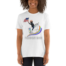 Load image into Gallery viewer, President Elect Joe Biden 46th President Riding a Unicorn on Rainbow Waving American Flag - Joe Biden Unicorn USA Flag Unisex T-Shirt