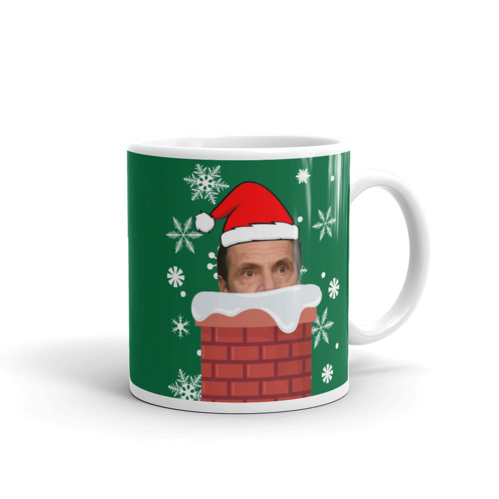 Cuomo Claus Coming Down the Chimney - Andrew Cuomo Mug - Cuomo Watching You - Cuomo Christmas 11oz Coffee Gift Mug