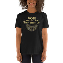 Load image into Gallery viewer, Vote Tshirt Vote and Tell them Ruth Sent You - Ruth Bader Ginsburg Tshirt - Vote Biden Harris - Notorious RBG Dissent Collar Vote RBG