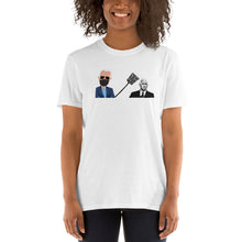 Load image into Gallery viewer, Biden Fly Swatting Fly on Mike Pence's Head Tshirt - Fly on Pence - Pence Fly Shirt - Vote Biden Harris - Kamala Speaking Unisex T-Shirt