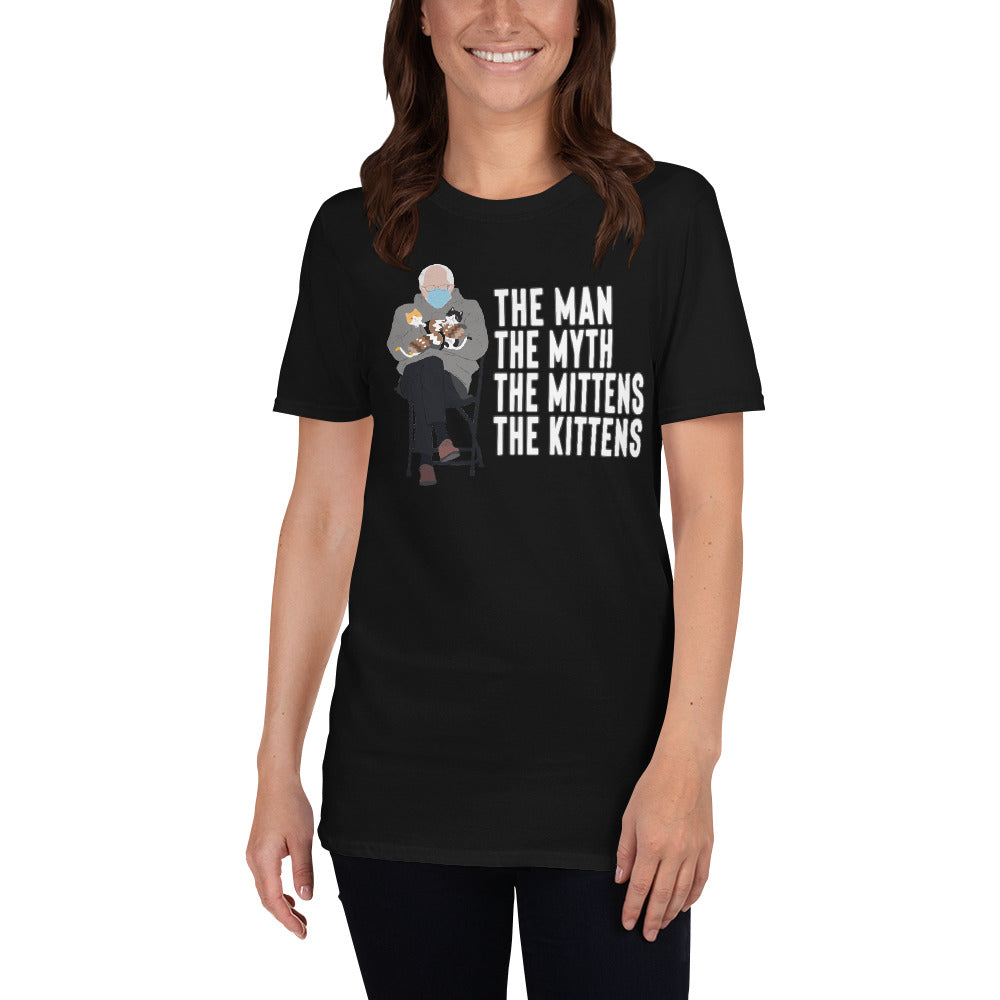 Bernie Sanders Sitting Chair Meme With Cats Man Myth Mittens Kittens - Bernie Inauguration Mittens Bernie Shirt Bernie Meme Shirt Unisex