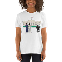 Load image into Gallery viewer, President Biden Vice President Kamala Harris at White House with Bernie Sitting in Chair 2021 Meme Shirt - Feel the Bern Mood Unisex T-Shirt