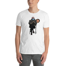Load image into Gallery viewer, Bernie Sanders Sitting Chair Meme Featuring Peeping Governor Andrew Cuomo - Bernie Meme Cuomo Meme - Bernie Shirt Cuomo Shirt Unisex T-Shirt