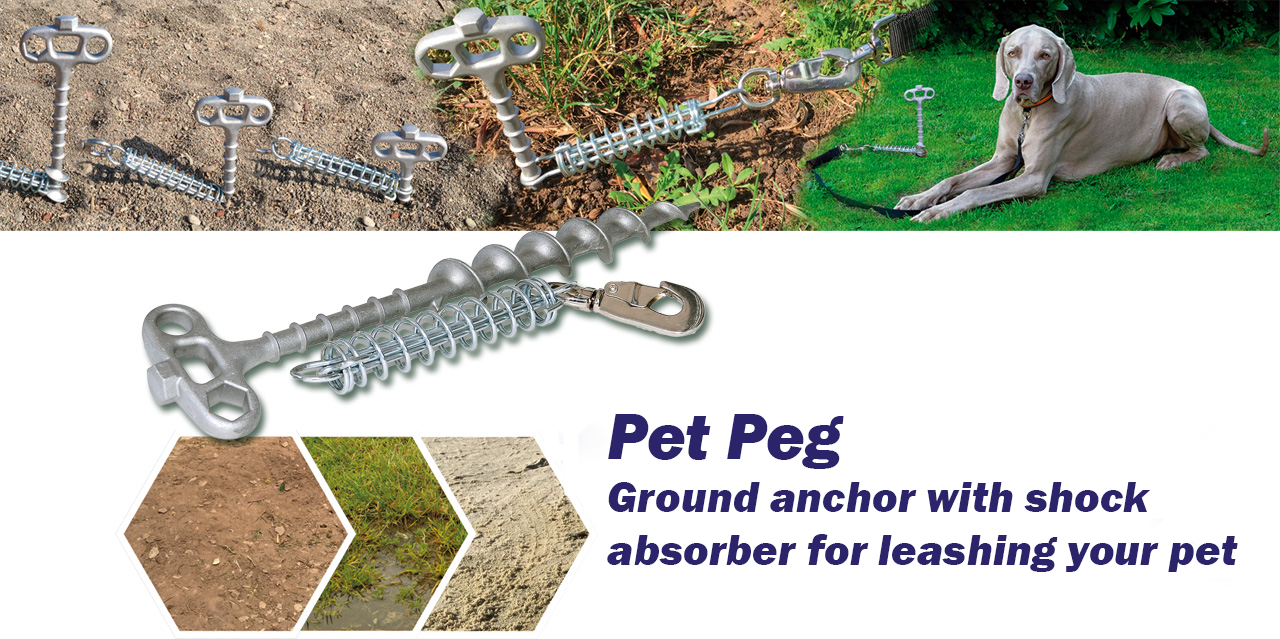 PetPeg (HP62) Ground anchor with shock absorber for your beloved Pet!