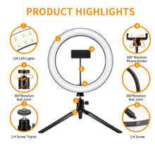 Load image into Gallery viewer, LED Ring Light with Tripod
