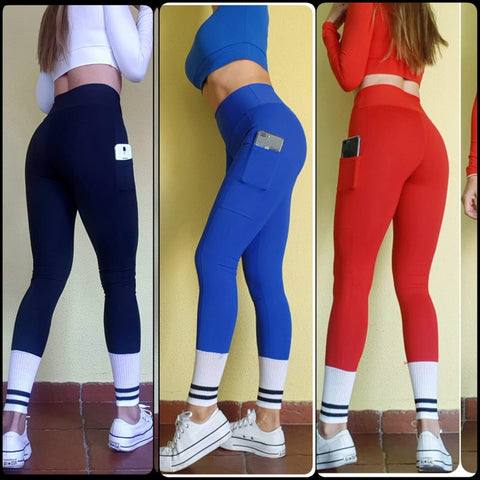 Leggins push up con calcetines y bolsillo movil