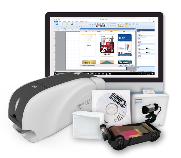 IDP SMART-31D Bundle includes USB Duplex Printer and USB Camera, 1-250 print YMCKO Ribbon, 100 Primus PVC cards, 1 Long Cleaning Card)