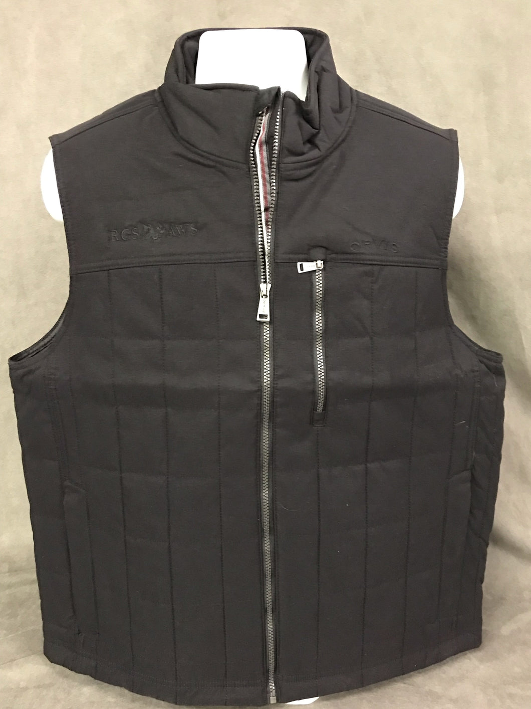 Orvis Vest: Black with Tone On Tone RGS/AWS Logo; Size Large