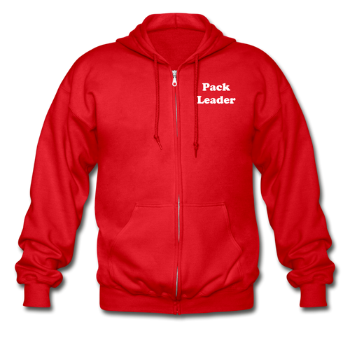 Pack Leader Adult Zip Hoodie (Red or Black) - red