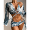 Tie Dye Long Sleeve Bikini Set with Sarong