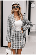 Casual Tweed Plaid Office Suit