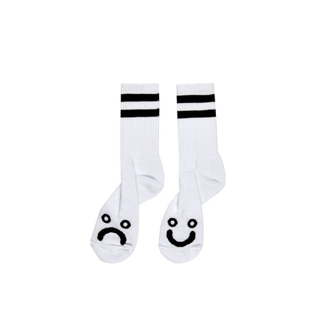 POLAR - HAPPY SAD SOCKS LONG WHITE