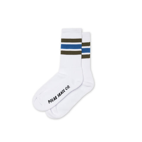 POLAR SKATE CO. - STRIPES SOCKS WHITE / ARMY / BLUE