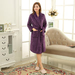 SPA Soft Warm Coral Fleece Long Bathrobe