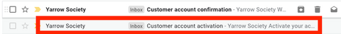 Customer account activation e-mail in an inbox