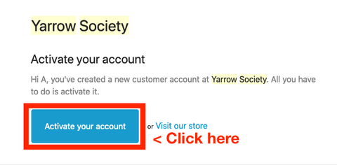 """E-mail with """"Activate your Account"""" button to click for Shopify store account activation."""