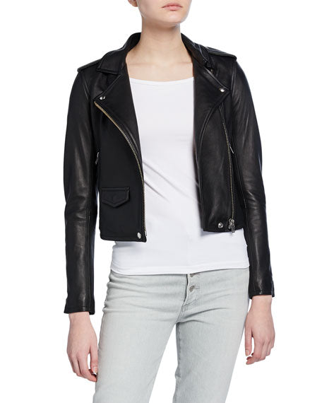 Ashville Cropped Iro Genuine Leather Jacket
