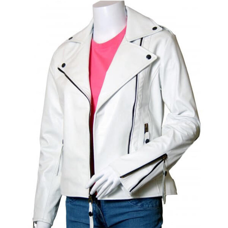 Women Biker White Leather Jacket