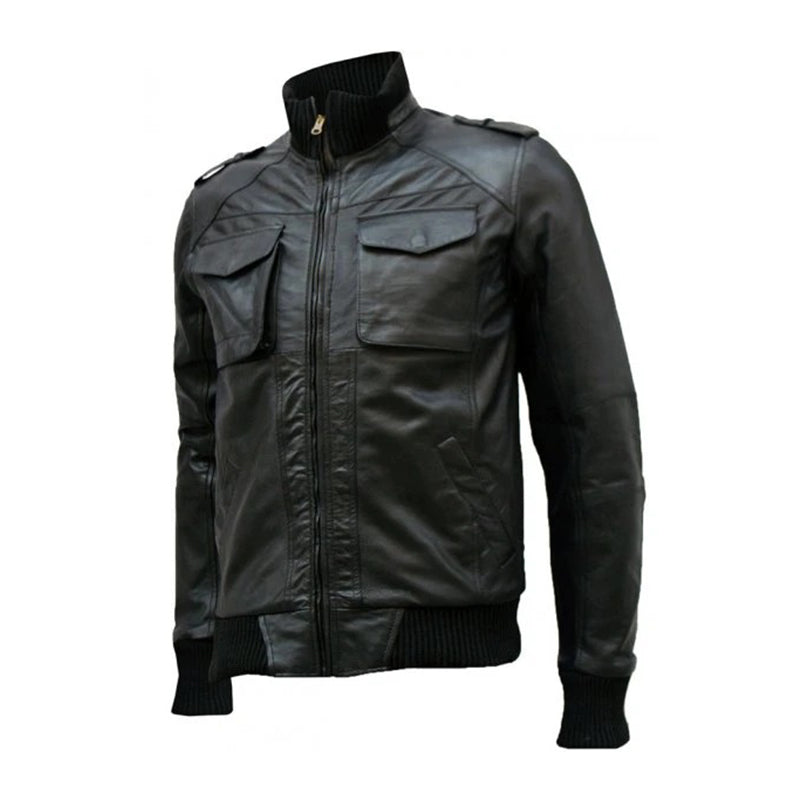 Flappy Black Leather Bomber Jacket Men's