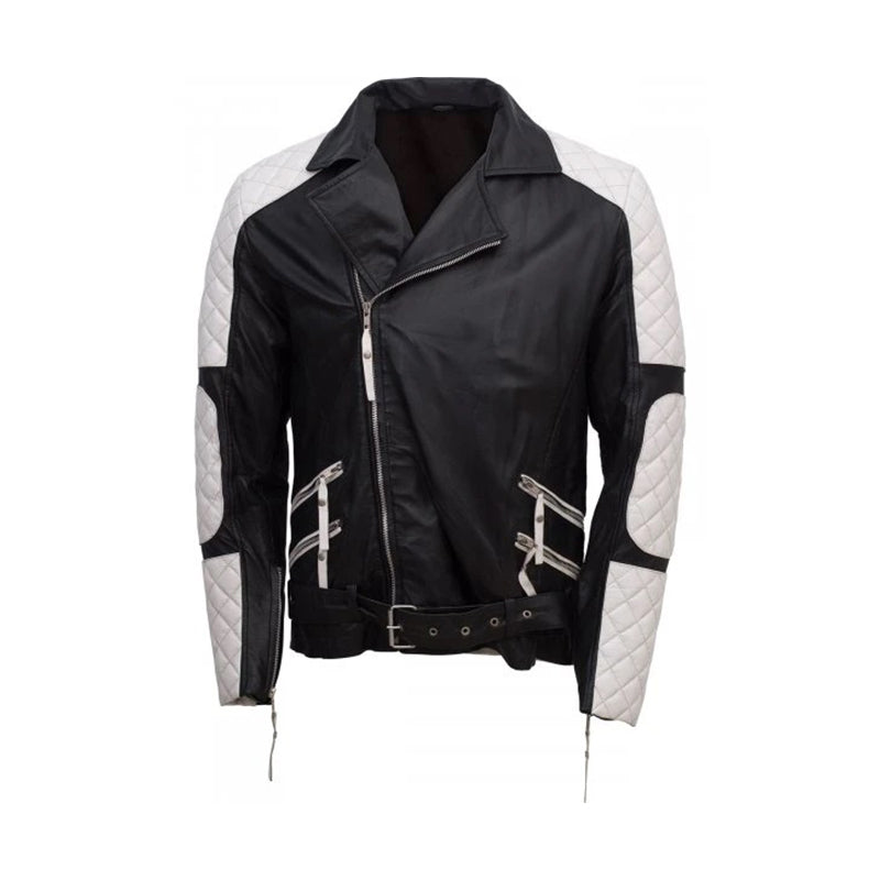 Men Black & White Leather Bomber Jacket