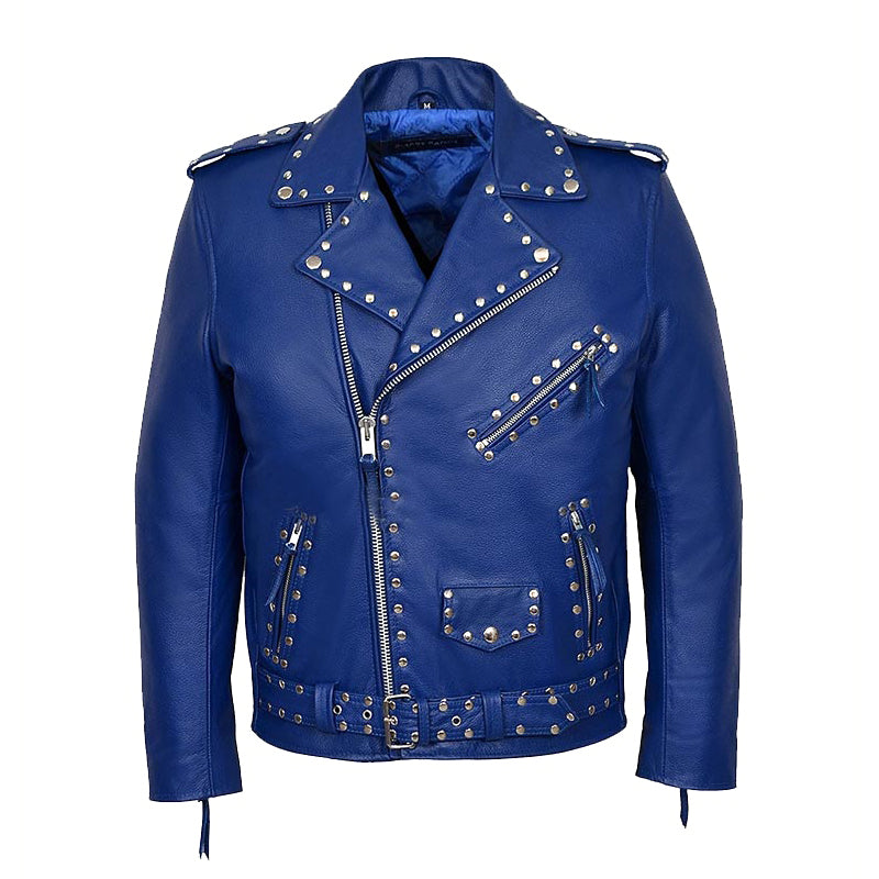 Studded Blue Motorcycle Jacket