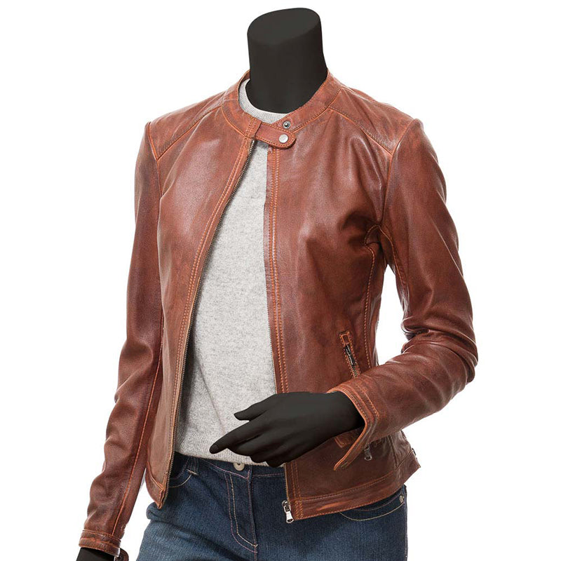 Calgary Ladies Tan Leather Biker Jacket