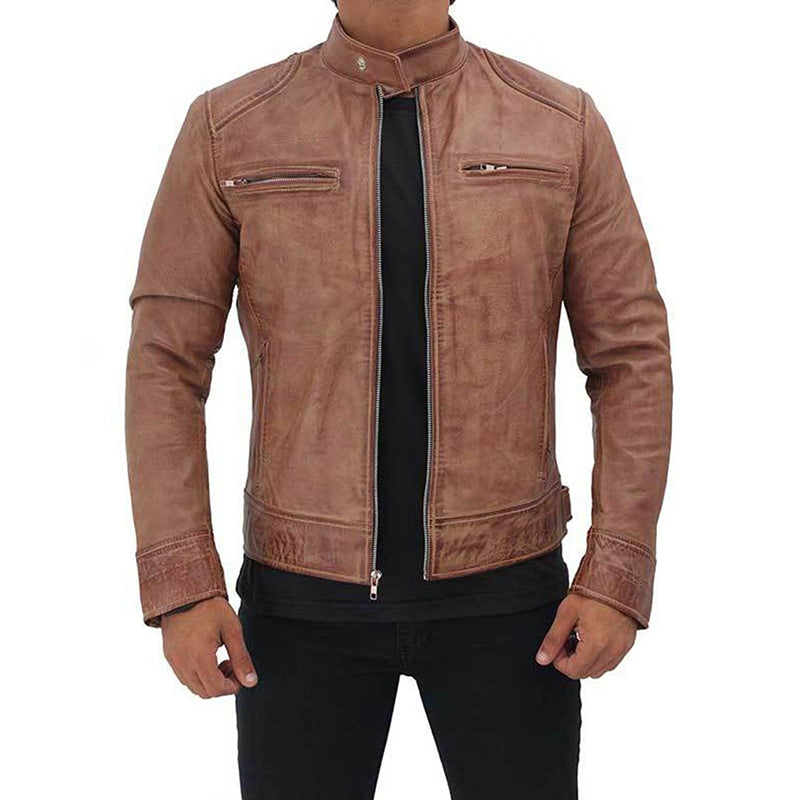 Dodge Leather Distressed Cafe Racer Leather Jacket