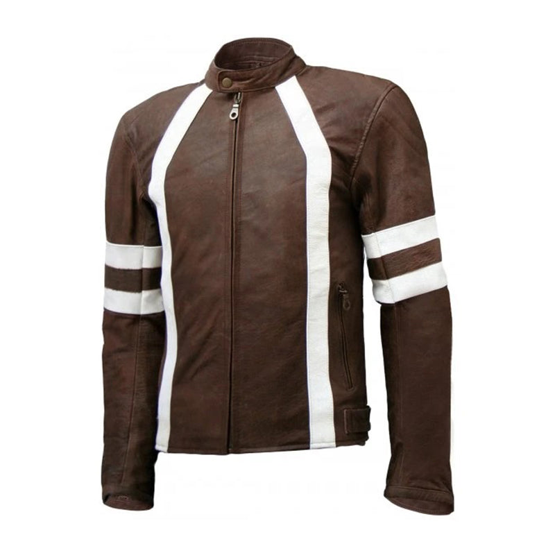 Men Distressed Vintage Leather Biker Jacket