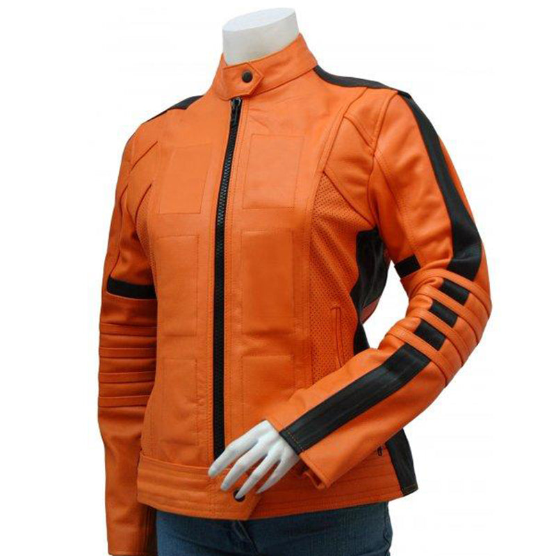 Orange Women's Leather Jacket