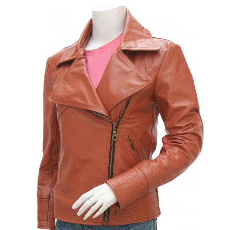 Stunning Pointed Collar Cognac Leather Jacket for Women