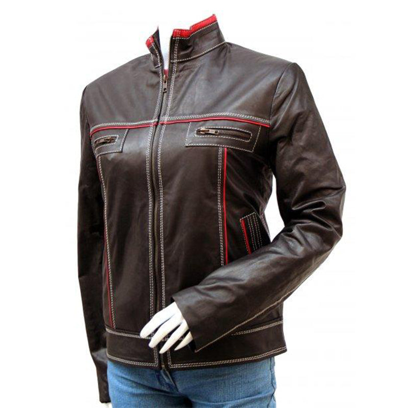 Women's Outdoor Double Stitched Leather Jacket