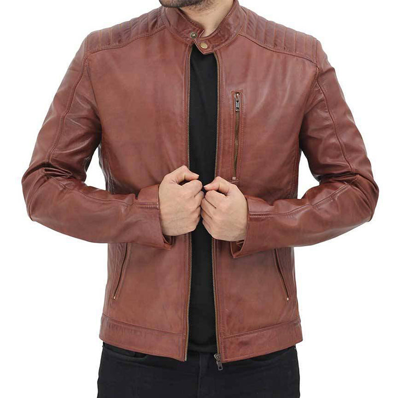 Cafe Racer Benjamin Brown Leather Jacket