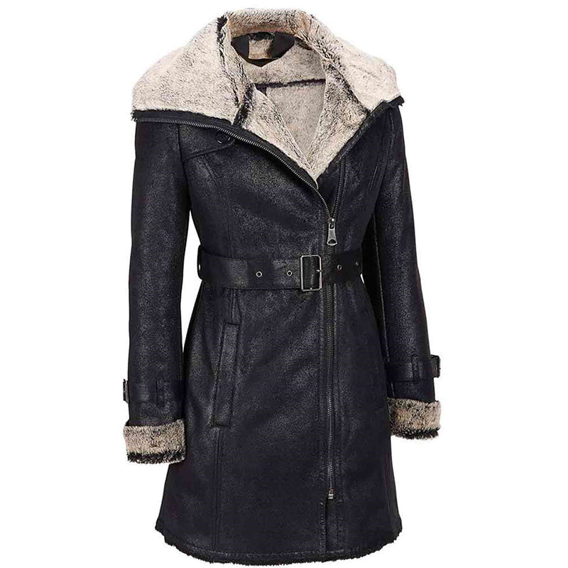 Womens Black Short Trench Jacket