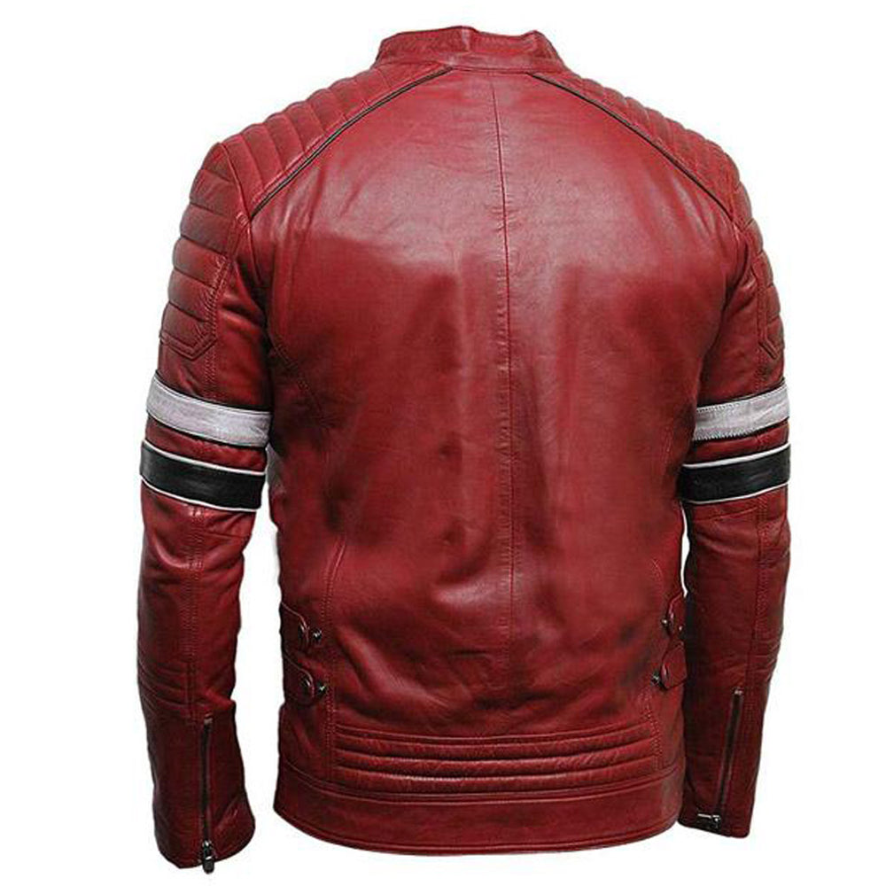 Mens Striped Red Cafe Racer Jacket