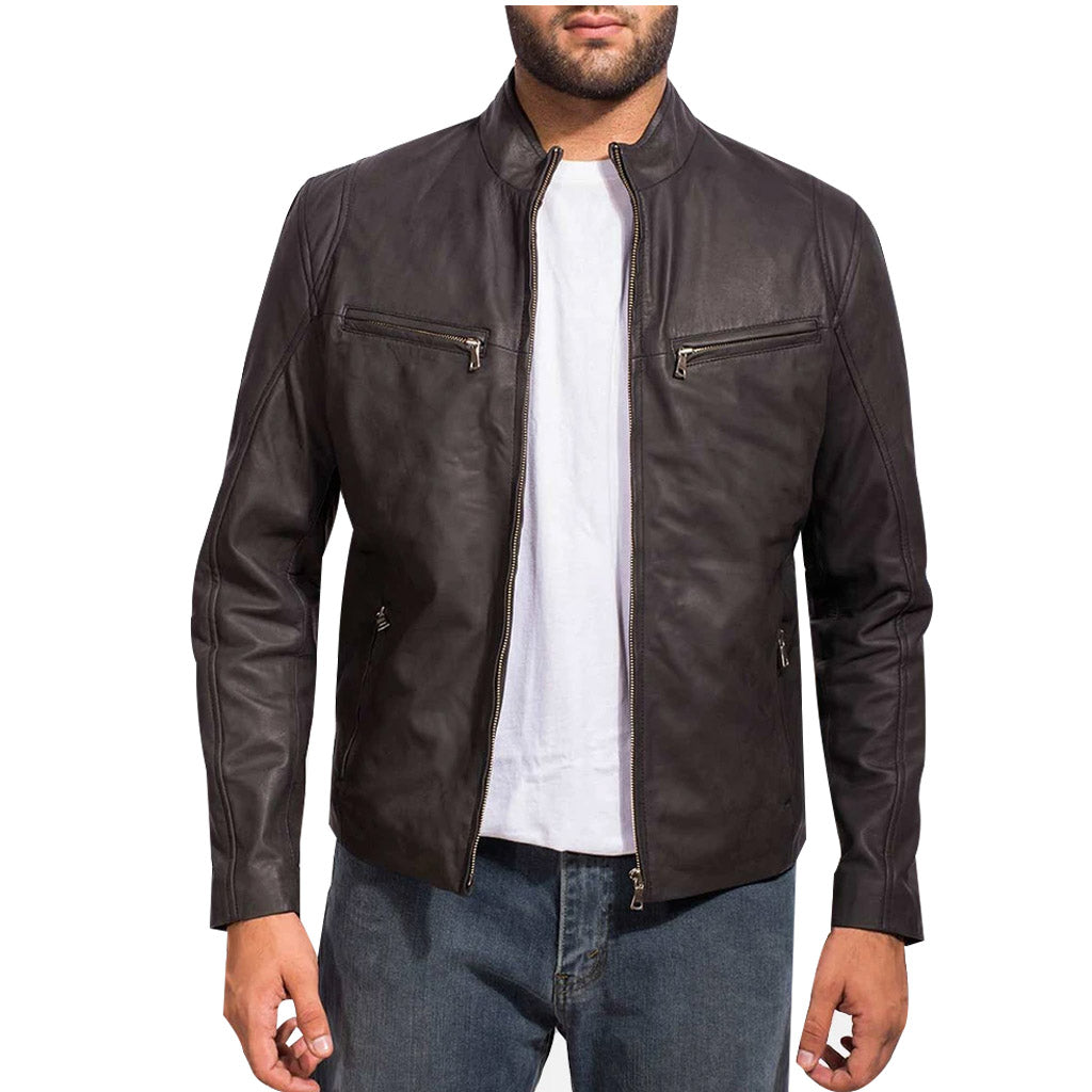 Ionic Black Leather Biker Jacket for Mens