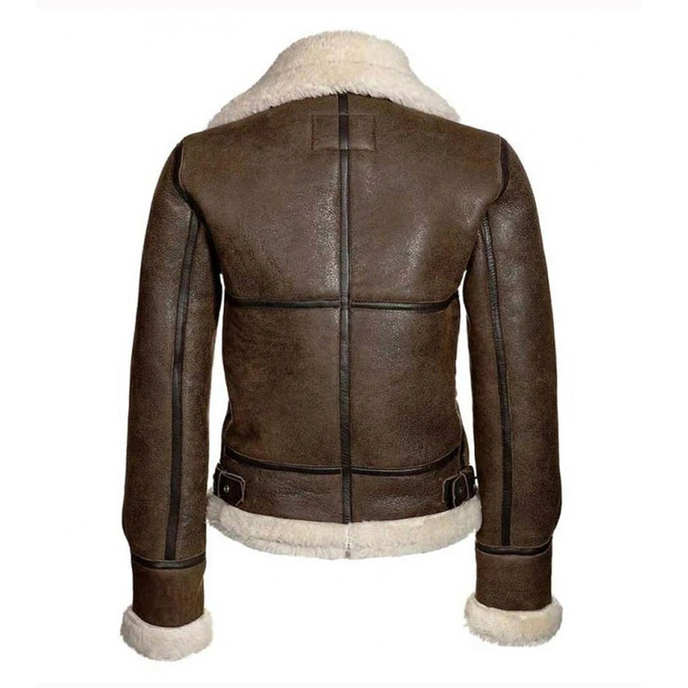 Aviator Womens Distressed Brown Jacket