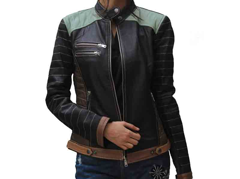 Alia Black Metallic Real Leather Jacket
