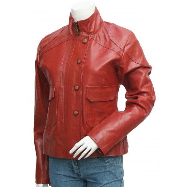 Antique Style Women's Lovely Maroon Leather Jacket