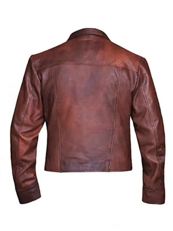 Aquaman Justice League Distressed Leather Jacket