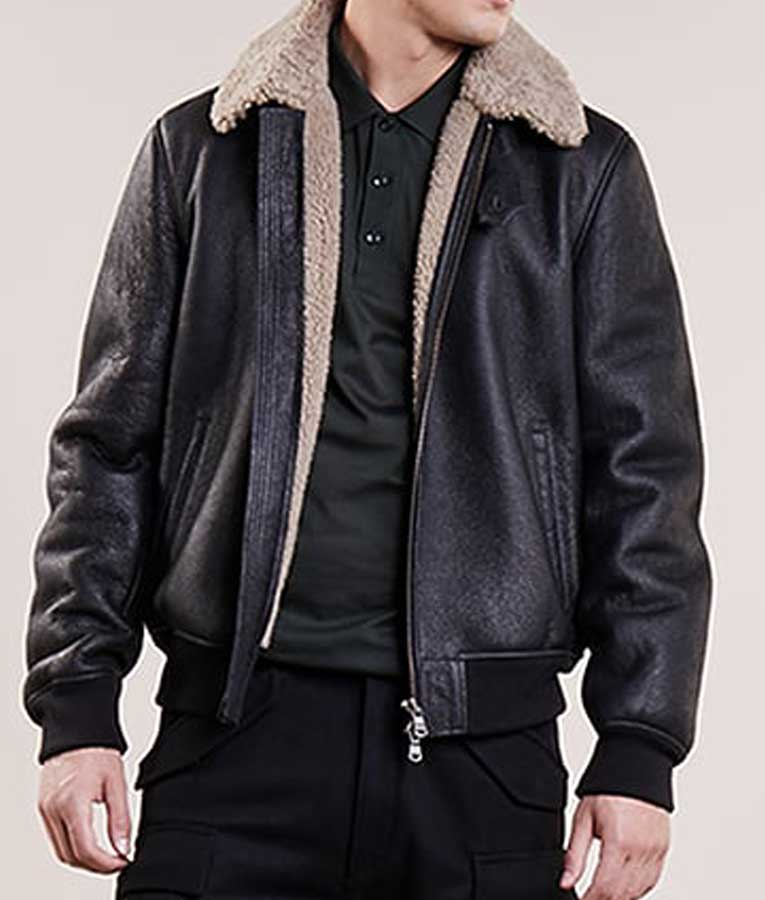 Aviator Mens Black Bomber Jacket