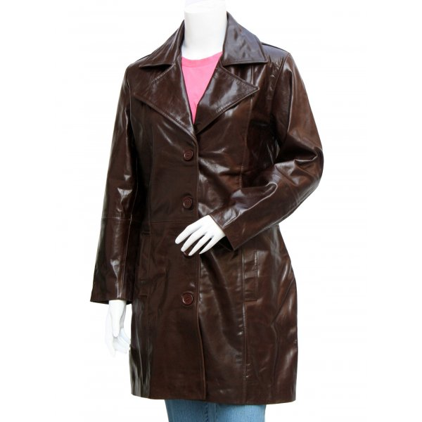 Beautiful Long Length Dark Brown Leather Coat For Women