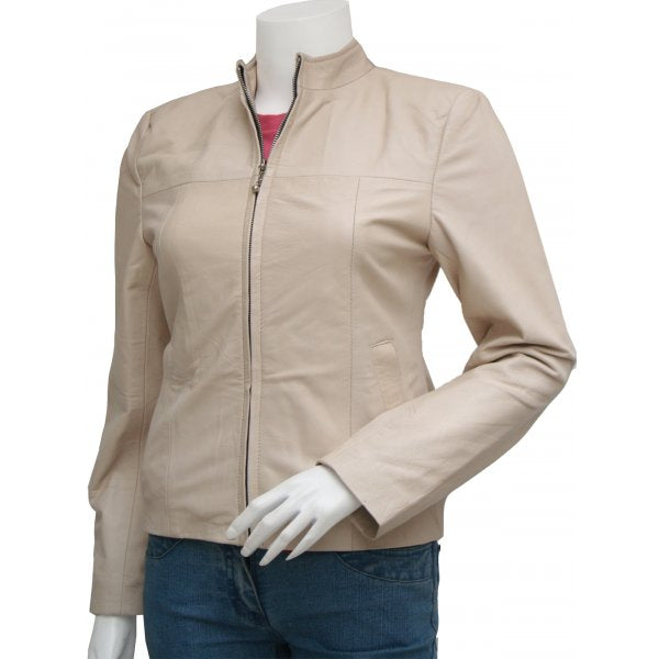 Beige Leather Gorgeous Biker Women Jacket