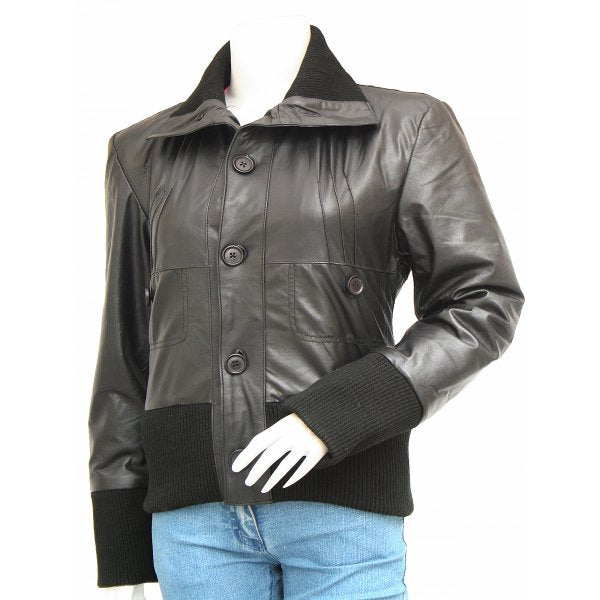 Black Leather Bomber Jacket Women