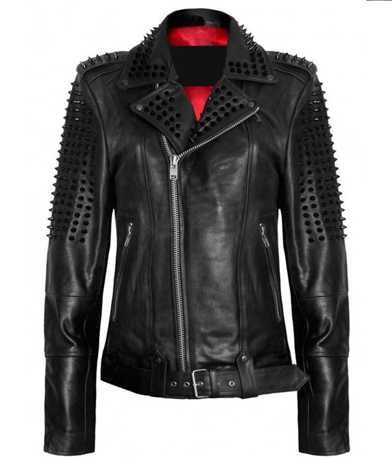 Black Studded Spikes Leather Jacket