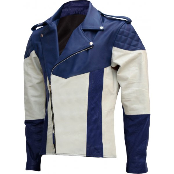 Blue & White Men Biker Leather Jacket