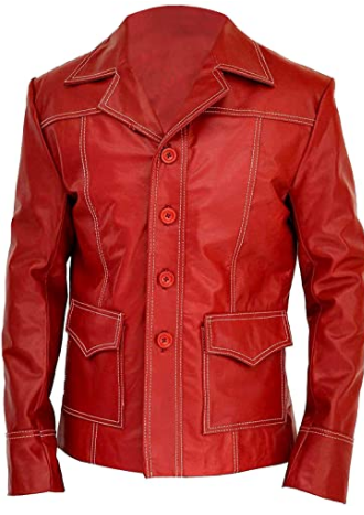 Brad Mayhem Club Jacket Tyler Red Leather Coat Men